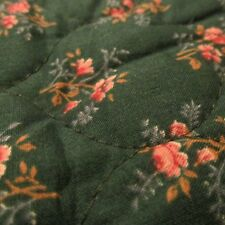 Vtg 80s PreQuilted cotton fabric reversible green calico rose 18x30 pre quilted