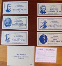 Washington Mint Silver Bar Proofs Currency .999 $1,$2,$5,$10,$50,$100. 28 oz set