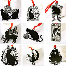 2 Pcs Cute Metal Bookmark Black Cat Shape Stationery Hollow Metal New Bookmarks