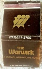 Vintage Warwick Hotel New York City matchbook cover circa 1970s