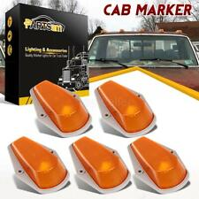 5 Cab Roof Light Marker Amber Covers w/ Base Housing For Ford F 73-97 Super Duty
