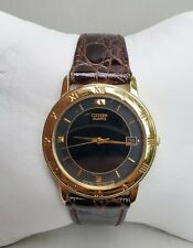 Mens Citizen Gold Tone Brown Leather Bracelet Watch 5510 Date Indicator A1