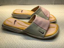 Nike Women's Peach/Beige Leather Slide Slippers Sandals Size-10