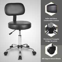 Adjustable Rolling Swivel Stool Spa Salon Barber Beauty Tattoo Chair w backrest