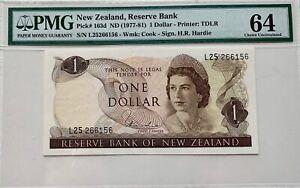 New Zealand 1 Dollar ND (1977-81) PMG 64 Pick #163d