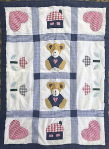 """Vintage Baby Quilt Appliqué Hearts  Flowers Bears  33"""" X 43"""" Blue Red Gingham"""