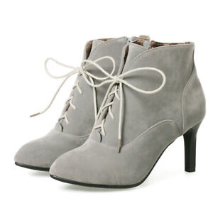 Women Stilettos Boots Zip Lace Up Pointed Toe Stilettos Heel Combat Ankle Bootie