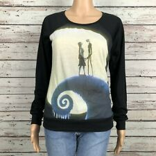 Nightmare Before Christmas Jack Sally Shirt Top SMALL Black Graphic Print Disney