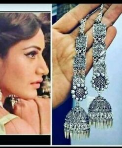 India Traditional Silver Oxidized Bollywood Fashion Jewelry Earrings jhumka