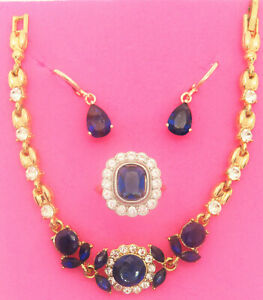 sapphire jewelry set, gold over 925 sterling silver, ring sz 6