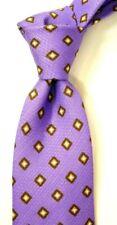 "$225 NWT ISAIA 7-Fold Purple w/ Brown Geometric Silk Linen Neck Tie ITALY 3.5"""