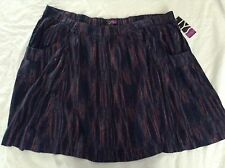 NWT Womens Sz 2X Elastic Waisted Multi color Blues Skirt by LYS ~ MSRP $20
