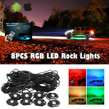 8 PCS CREE RGB LED Multi-Color Offroad Rock Lights Wireless Bluetooth Truck VAN