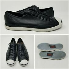 Converse Jack Purcell Black Leather Low Shoes Sneakers Mens Size 10.5
