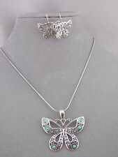 Silver Butterfly Necklace Earrings Set Turquoise Bead Accent Fashion Jewelry NEW