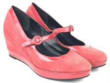 Ladies Office red wedge mary jane style heels size 8 41 suede patent leather