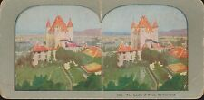 Coloured Vintage 3D Stereoview Card - The Castle of Thun, Switzerland