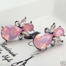 Wholesale 1pair Woman's Pink Crystal Rhinestone Long Ear Stud Hoop earrings 105