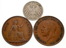 Lot of 3 Coins Germany 1900 10 Pfennig and Great Britain 1 Penny (2 Coins) XF