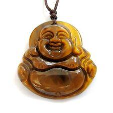 Tiger Eye Gem Tibet Buddhist Laughing Buddha Amulet Pendant