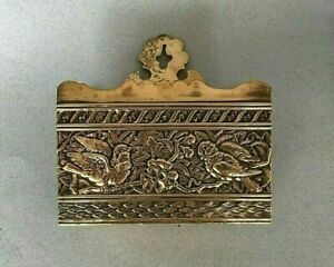 SMALL ANTIQUE BRASS LETTER RACK EMBOSSED BIRD DESIGN DESK WALL MOUNTED vintage