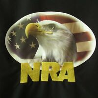NRA Jacket L Large Black Embroidered Bald Eagle Flag Patriotic