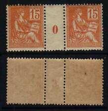 TYPE MOUCHON /1900 # 117- 15 C. ORANGE PAIRE MILLESIME * COTE + 37 € (ref4943c)