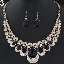 EG_ Women Fashion Rhinestone Waterdrop Pendant Necklace Earrings Jewelry Set Can