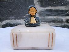 Vintage Art Deco Marble Onyx Figural Trinket/Dresser Box, from Ovington's NY!