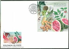 SOLOMON ISLANDS  2013  FRUITS AND NUTS SOUVENIR SHEET  FDC