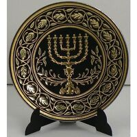 Damascene Gold Menorah Miniature Decorative Plate by Midas of Toledo Spain 2938M