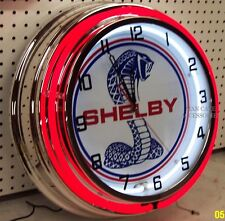 "18"" Ford Mustang SHELBY COBRA Sign Double Neon Clock"
