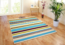 EXTRA LARGE CREAM BRIGHT BLUE AUBERGINE LIME GREEN STRIPED FUNKY RUG 160x225cm