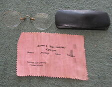 Vintage Antique Pince Nez 10k Gold Eyeglasses with Case & Cleaning Cloth