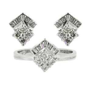 Art Deco 14k White Gold Round & Baguette Diamond Ring and Stud Earrings Set