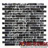 Mosaik Fliese Glasmosaik Natursteinmosaik mix schwarz Wand Bad Art: 87-v1328_b