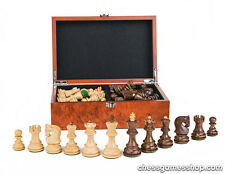 """Dubrovnik Zagreb Royal S wooden chess pieces-chessmen 3""""-weighted,felted in BOX"""