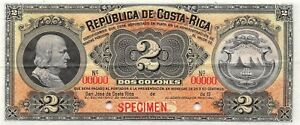 Costa Rica  2 Colones  ND. 19xx  P 146s  Specimen  Uncirculated Banknote