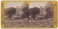 Interlaken Hôtel Victoria Suisse Stéréo par Hippolyte Jouvin Vintage, ca 1865