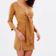 Lioness Suede Velvet Long Sleeve Tan Brown Dress Wrap Bow Mini Side Slit 6 XS