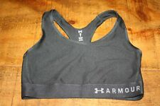 UNDER ARMOUR UA MID SPORTS BRA UK SIZE 12 MEDIUM SUPPORT  BLACK  WHITE LOGO 1810