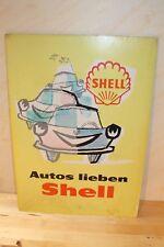 Shell Werbung, Schild aus Pappe, 1960's, Antik,  41,5cm x 59cm