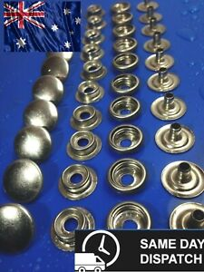 Stainless Steel Press Studs - 10 Sets Boat Canopy Marine Grade Snap Fasteners