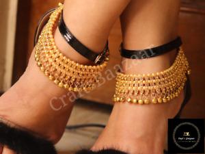Indian Bridal Payal Anklets Jewelry Gold Kundan Ghungroo Payal Jewellery Set