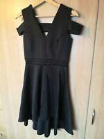 Boohoo Clea Bardot Plunge High Low Skater Skirt Dress NEW Size 12