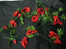 Deko Mohn Mohnblüten Girlande Mohngirlande rot Tischdeko künstlich wie echt Neu