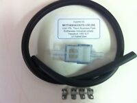 6mm WhiteSQUARE INLINE FUEL FILTER,MRC TYPE,& 1/2Mtr Hose & 4 Clips FOR CAR,bike
