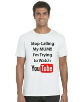 Stop Calling My Mum I'm Trying To Watch YouTube Kids T-Shirt Tee Top Ages 3-13