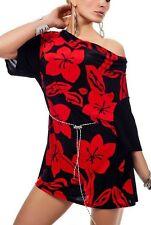 Sexy Damen Long Shirt Flower Tunika Mini Kleid Gürtel  36/38/40 rot schwarz TOP