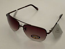 NEW! FOSSIL AVIATOR SEMI-RIMLESS BROWN FRAME SUNGLASSES SHADES SALE